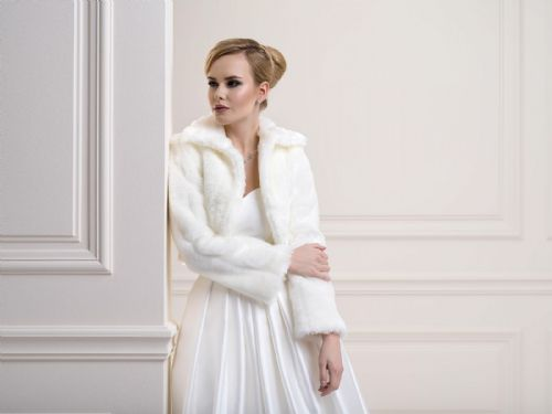 Clarissa Faux Fur Bridal Bolero, Fur Wedding Jacket